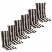 vidaXL 6 db 120x52 cm sötét csíkos kerti szék ülőpárna