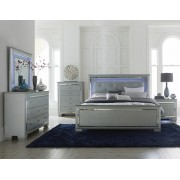 Home Elegance 1916-5PC 5 pc allura collection silver embossed alligator finish wood bedroom set with led trim
