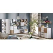 Steiner Shopping Moebel (DO) Wohnzimmer Komplett - Set J Lefua, 11-teilig, Farbe: Weiß / Nussfarben