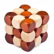 KINGOU Wooden Twist Dragon Puzzle IQ Brain Teaser Intelligence Magic Cube