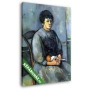 Paul Cézanne: Nő babával (20x25 cm, Vászonkép )