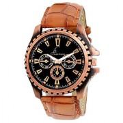 Jack Klein Stylish Round Dial Brown Strap Quartz Analog Wrist Watch