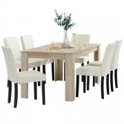 [en.casa]® Blagovaonski stol - rustični hrast - 160x90 cm - sa 6 tapeciranih stolica - krem - Požega