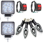 9 LED Square Universal Bike /Motorcycle Fog Light 2+2 Switch+4 Pointer Indicator Light