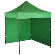 Párty stan 2x2m – oceľový, Zelená, 2 bočné plachty