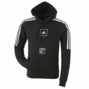 adidas Sweat à capuche noir bandes blanches adidas homme - XL OL - Foot Lyon