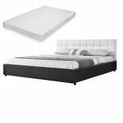 MyBed Cama tapizada acolchada + colchón 140x200cm blanco/negro cuero sintético - Castillejo de Robledo