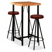 vidaXL Set mobilier bar 3 piese lemn masiv de acacia & piele naturală