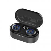 TW80 Digital Display Mini Bluetooth 5.0 Earphone Headset Headphone with Charing Bin - Black