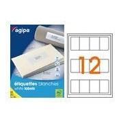 agipa 119607 étiquettes multiusages blanches 50x80 mm coins arrondis - Poch 25 pl. A4