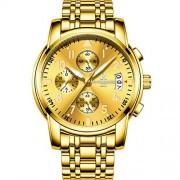 RONSHIN Reloj multifunción de Cuarzo para Hombre con Movimiento de Acero y 6 punteros Dorado