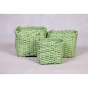 Dekorativní košíky zelenkavé sada 3ks