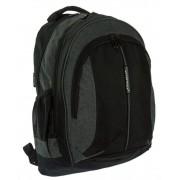3 rekeszes fekete-szürke textil hátizsák Adventurer