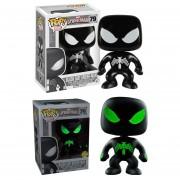Funko Pop Set 2 Figuras Spider Man Black Suit Version Normal Y Glow Marvel Exclusivos-Negro