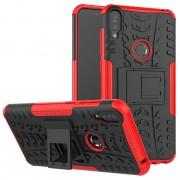 Capa Híbrida Antiderrapante com Função de Suporte para Asus Zenfone Max Pro (M1) - Preto / Vermelho
