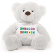 White 2 feet Fur Face Big Teddy Bear wearing a Friends Forever T-shirt