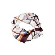 Esarfa dreptunghiulara ivoire cu carouri colorate