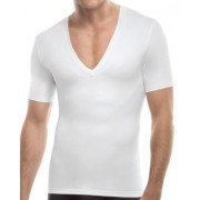 SPANX For Men Cotton Compression Deep V Neck Short Sleeved T Shirt White 629