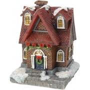 1x Kersthuisjes/kerstdorpje met color change verlichting 13 cm type 4 - Kerstdorp onderdelen - Verlichte kersthuisjes