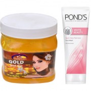 PINK ROOT GOLD GEL 500G WITH POND'S WHITE BEAUTY FACEWASH