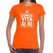 Bellatio Decorations Oranje Lunga vita al Re Italiaans t-shirt dames M - Feestshirts
