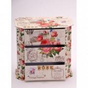 Doboz fiókos rózsa mintás papír 17x10,2x16,5cm krém