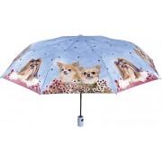 Blooming Brollies Umbrela auto pliabilă pentru damă Cats drăguțe și câine Blue 25906B