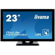 iiyama ProLite T2336MSC-B2 23' LED LCD PCAP Frameless 10P Touch Screen 1920x1080 IPS Flat Bezel Free Glass Front VGA DVI-D HDMI 213cd/m² USB 3.0-Hub (4xOut)