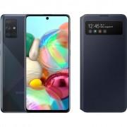 Samsung Galaxy A71 Zwart + Samsung S View Wallet Cover Zwart