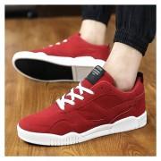 Zapatos De Los Hombres Calzado Deportivo Suede Leather Zapatos De Tenis Casual Masculino -Rojo