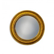 Rhubarb Home - Antiqued Gold Rounded Framed Medium Convex Mirror - glass | gold - Gold/Gold