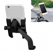 Motorfiets achteruitkijkspiegel aluminiumlegering telefoon beugel geschikt voor 60-100mm apparaat (zwart)