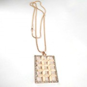 Gold Plated Rectangular Floral Crystal Studded Stylish Latest Korean Pandent Chain for Women Girls