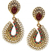 Kriaa by JewelMaze Maroon And Green Austrian Stone Pearl Antique Gold Plated Dangle Earrings -PAA0566