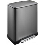 Кош за разделно събиране на отпадъци с педал Eko E-Cube 28 + 18 л - графит/инокс