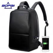 BOPAI Anti Theft Notebook Backpack External USB Port Men Leather Travel Backpack Waterproof Laptop Backpack School Bag mochila