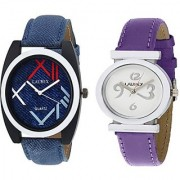 Laurex Blue Analog Leather Watches for Lovely Couple Combo-LX-034-LX-029