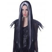 Vegaoo Väldigt lång svart-vit Halloween-peruk för vuxna One-size