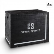 """Shineater BK Set de caixas para treino pliométrico em madeira 20"""", 24"""", 30"""" preto"""