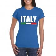 Bellatio Decorations Blauw Italie supporter shirt dames L - Feestshirts