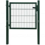 vidaXL 2D Оградна врата, единична, зелена, 106 х 130 см