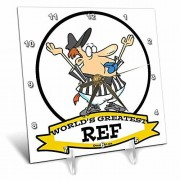 3dRose DC_103496_1 Funny Worlds Greatest Ref árbitro de Dibujos Animados Reloj de computadora, 6 por 6 Pulgadas