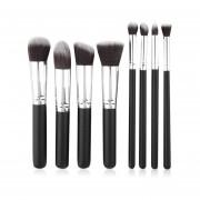 ER 8pcs Cepillo Cosméticos De Maquillaje De La Cara Colorete Polvos Base Cepillos Tool Set Negro Y Plata.