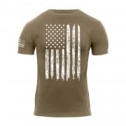 ROTHCO | Triko DISTRESSED US bílá vlajka COYOTE BROWN vel.XL
