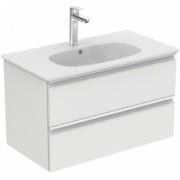Mobilier baza Ideal Standard Tesi 80cm, alb lucios cu doua sertare si lavoar -T0051OV+T350901