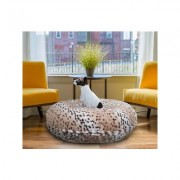 Bessie + Barnie Bagel Bolster Dog Bed w/Removable Cover, Snow Leopard, Small