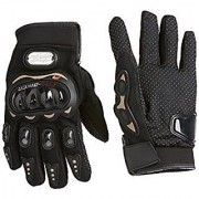 Full Finger Pro Biker Riding Glove (L size Black)