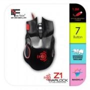 Мишка FanTech Z1, оптична (3200 dpi), жична, USB, черна, със седем бутона