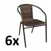 Set 6x Scaune Rattan si Metal pentru Curte Gradina Terasa sau Balcon Culoare NegruMaro