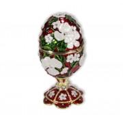Böhme Musikspieluhren Schmuck Ei rot mit Spieluhr nach Faberge-Art aus emailiertem Metall